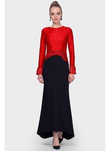 İroni Üstü Dantel Balık Abiye Elbise Kırmızı